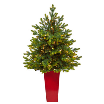 44 North Carolina Fir Artificial Christmas Tree with 150 Clear Lights and 563 Bendable Branches in Red Tower Planter - SKU #T2324