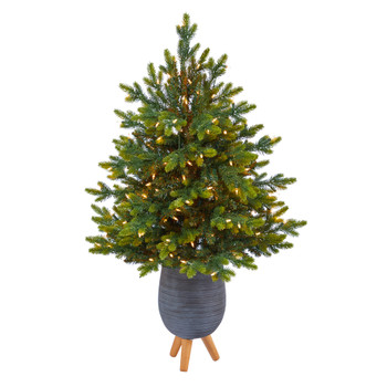 3.5 North Carolina Fir Artificial Christmas Tree with 150 Clear Lights and 563 Bendable Branches in Gray Planter with Stand - SKU #T2325