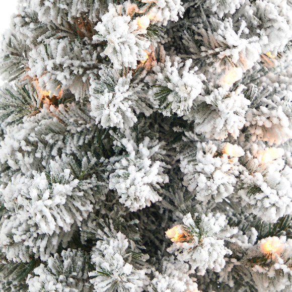 56 Flocked Pencil Artificial Christmas Tree with 100 Clear Lights and 216 Bendable Branches in Gray Planter - SKU #T2331 - 3