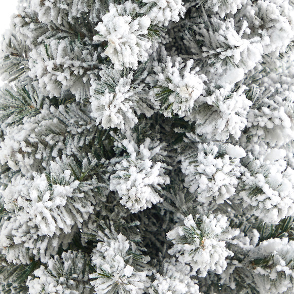 56 Flocked Pencil Artificial Christmas Tree with 100 Clear Lights and 216 Bendable Branches in Gray Planter - SKU #T2331 - 4