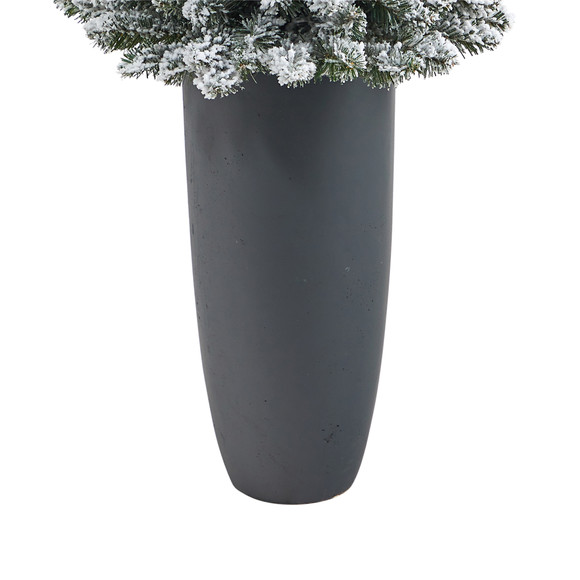 56 Flocked Pencil Artificial Christmas Tree with 100 Clear Lights and 216 Bendable Branches in Gray Planter - SKU #T2331 - 5