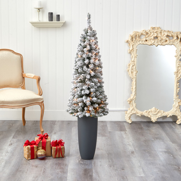 56 Flocked Pencil Artificial Christmas Tree with 100 Clear Lights and 216 Bendable Branches in Gray Planter - SKU #T2331 - 6
