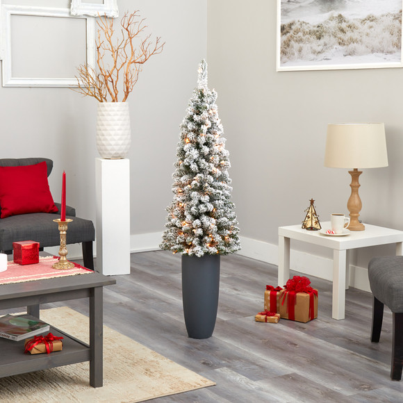 56 Flocked Pencil Artificial Christmas Tree with 100 Clear Lights and 216 Bendable Branches in Gray Planter - SKU #T2331 - 7