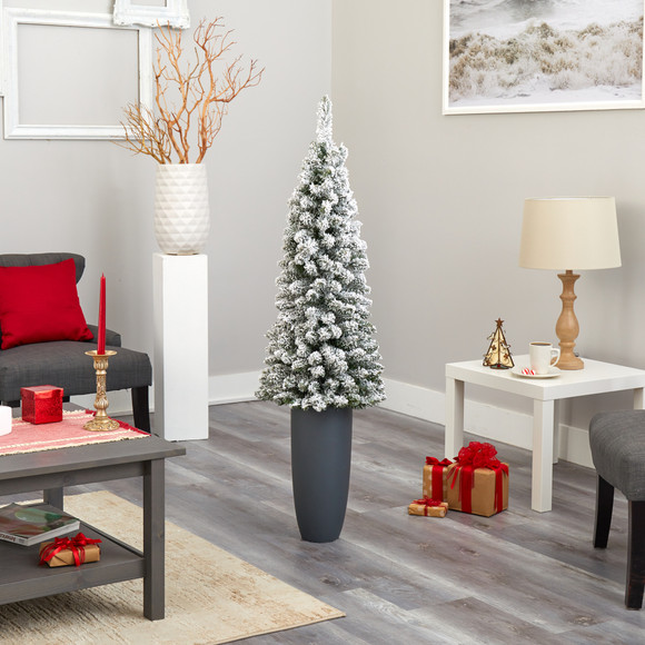 56 Flocked Pencil Artificial Christmas Tree with 100 Clear Lights and 216 Bendable Branches in Gray Planter - SKU #T2331 - 8