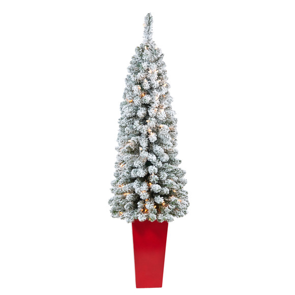 4.5 Flocked Pencil Artificial Christmas Tree with 100 Clear Lights and 216 Bendable Branches in Tower Planter - SKU #T2332