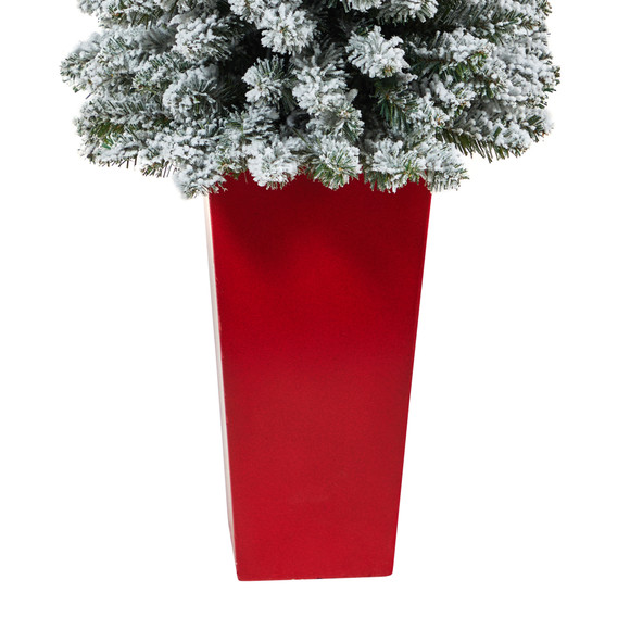 4.5 Flocked Pencil Artificial Christmas Tree with 100 Clear Lights and 216 Bendable Branches in Tower Planter - SKU #T2332 - 5