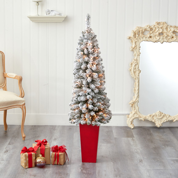 4.5 Flocked Pencil Artificial Christmas Tree with 100 Clear Lights and 216 Bendable Branches in Tower Planter - SKU #T2332 - 6