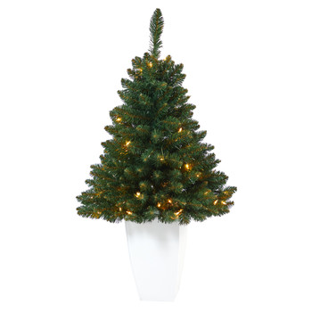 3.5 Northern Rocky Spruce Artificial Christmas Tree with 50 Clear Lights and 154 Bendable Branches in White Metal Planter - SKU #T2333