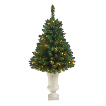 3.5 Northern Rocky Spruce Artificial Christmas Tree with 50 Clear Lights and 154 Bendable Branches in Sand Colored Urn - SKU #T2334