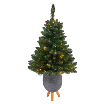 3.5 Northern Rocky Spruce Artificial Christmas Tree with 50 Clear Lights and 154 Bendable Branches in Gray Planter with Stand - SKU #T2335