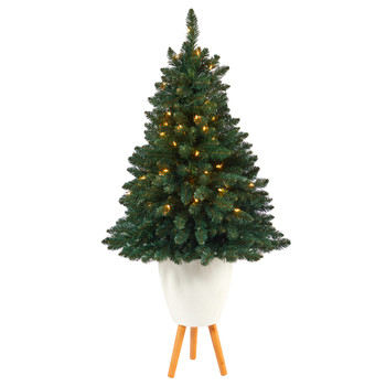 57 Northern Rocky Spruce Artificial Christmas Tree with 100 Clear Lights and 322 Bendable Branches in White Planter with Stand - SKU #T2336