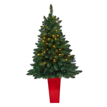 52 Northern Rocky Spruce Artificial Christmas Tree with 100 Clear Lights and 322 Bendable Branches in Tower Planter - SKU #T2337