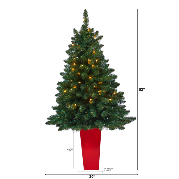 52 Northern Rocky Spruce Artificial Christmas Tree with 100 Clear Lights and 322 Bendable Branches in Tower Planter - SKU #T2337 - 1