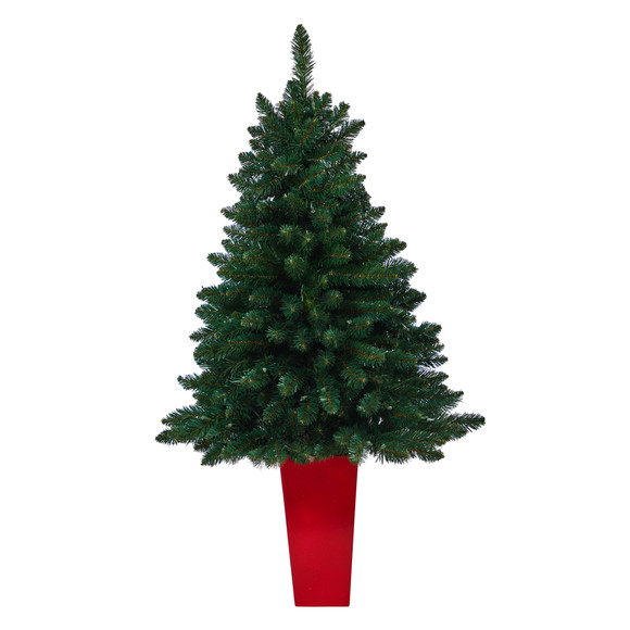 52 Northern Rocky Spruce Artificial Christmas Tree with 100 Clear Lights and 322 Bendable Branches in Tower Planter - SKU #T2337 - 2