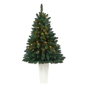 52 Northern Rocky Spruce Artificial Christmas Tree with 100 Clear Lights and 322 Bendable Branches in Tower Planter - SKU #T2337-WH