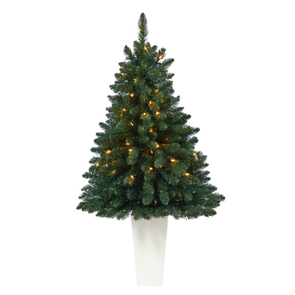 52 Northern Rocky Spruce Artificial Christmas Tree with 100 Clear Lights and 322 Bendable Branches in Tower Planter - SKU #T2337 - 9
