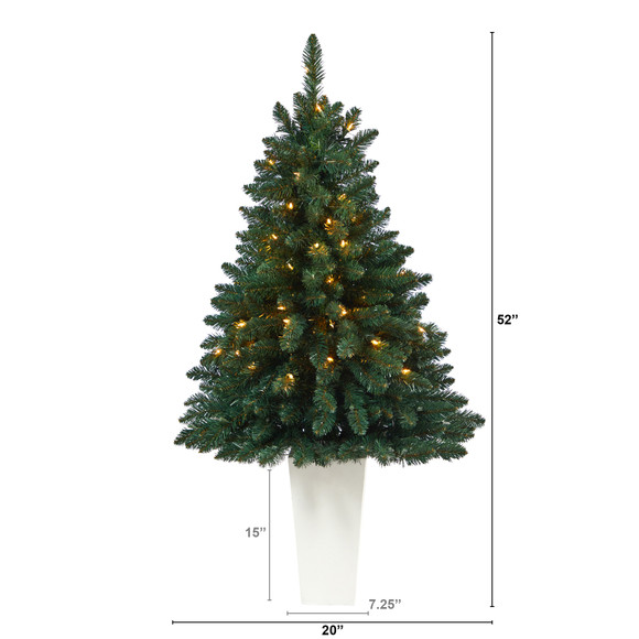 52 Northern Rocky Spruce Artificial Christmas Tree with 100 Clear Lights and 322 Bendable Branches in Tower Planter - SKU #T2337 - 10