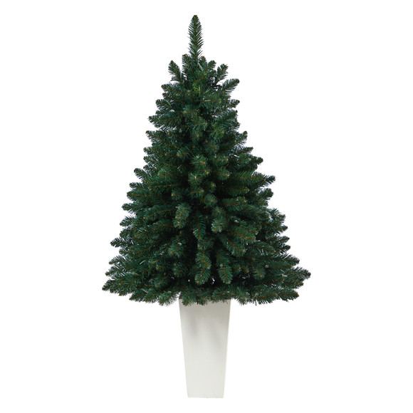 52 Northern Rocky Spruce Artificial Christmas Tree with 100 Clear Lights and 322 Bendable Branches in Tower Planter - SKU #T2337 - 11