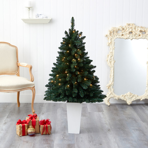 52 Northern Rocky Spruce Artificial Christmas Tree with 100 Clear Lights and 322 Bendable Branches in Tower Planter - SKU #T2337 - 15