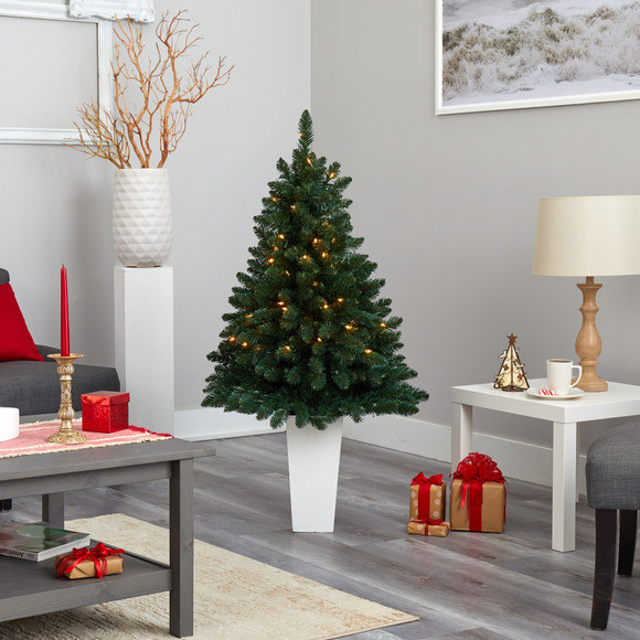 52 Northern Rocky Spruce Artificial Christmas Tree with 100 Clear Lights and 322 Bendable Branches in Tower Planter - SKU #T2337 - 16