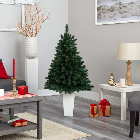 52 Northern Rocky Spruce Artificial Christmas Tree with 100 Clear Lights and 322 Bendable Branches in Tower Planter - SKU #T2337 - 17