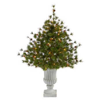 44 Colorado Mountain Pine Artificial Christmas Tree with 50 Clear Lights. 171 Bendable Branches and Pine Cones in Decorative Urn - SKU #T2340