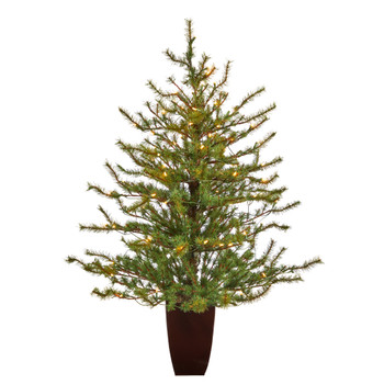 52 Vancouver Mountain Pine Artificial Christmas Tree with 100 Clear Lights and 374 Bendable Branches in Bronze Metal Planter - SKU #T2342