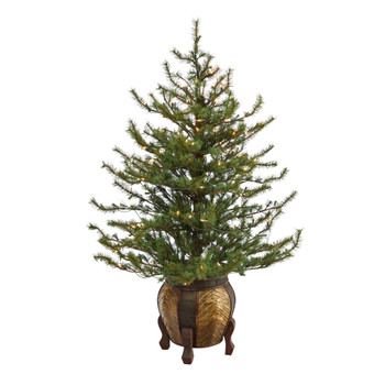4.5 Vancouver Mountain Pine Artificial Christmas Tree with 100 Clear Lights and 374 Bendable Branches in Decorative Planter - SKU #T2343