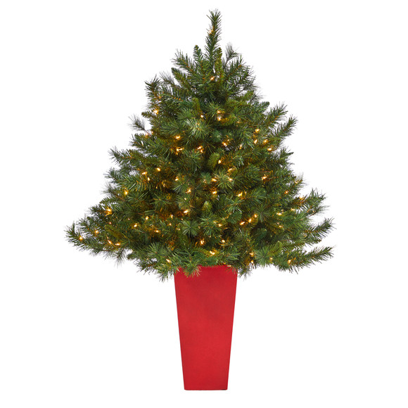 4.5 Wyoming Mixed Pine Artificial Christmas Tree with 250 Clear Lights and 462 Bendable Branches in Red Tower Planter - SKU #T2347