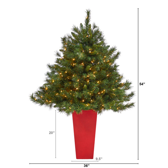 4.5 Wyoming Mixed Pine Artificial Christmas Tree with 250 Clear Lights and 462 Bendable Branches in Red Tower Planter - SKU #T2347 - 1