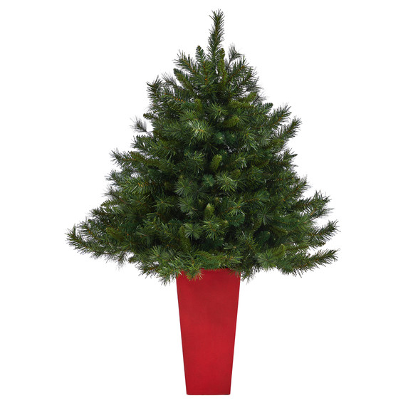4.5 Wyoming Mixed Pine Artificial Christmas Tree with 250 Clear Lights and 462 Bendable Branches in Red Tower Planter - SKU #T2347 - 2