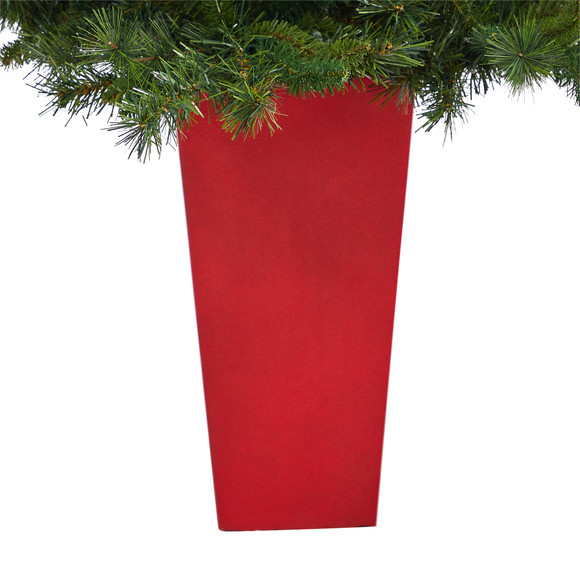 4.5 Wyoming Mixed Pine Artificial Christmas Tree with 250 Clear Lights and 462 Bendable Branches in Red Tower Planter - SKU #T2347 - 5
