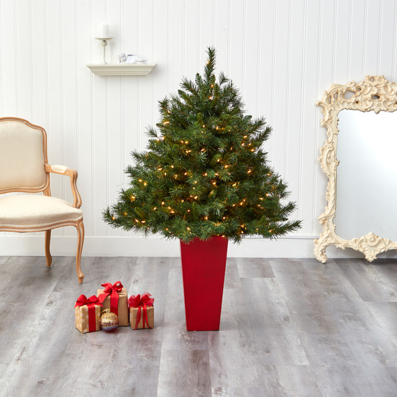 4.5 Wyoming Mixed Pine Artificial Christmas Tree with 250 Clear Lights and 462 Bendable Branches in Red Tower Planter - SKU #T2347 - 6