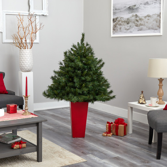 4.5 Wyoming Mixed Pine Artificial Christmas Tree with 250 Clear Lights and 462 Bendable Branches in Red Tower Planter - SKU #T2347 - 8