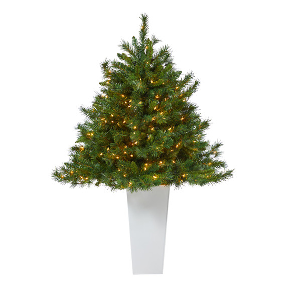 4.5 Wyoming Mixed Pine Artificial Christmas Tree with 250 Clear Lights and 462 Bendable Branches in Red Tower Planter - SKU #T2347 - 9