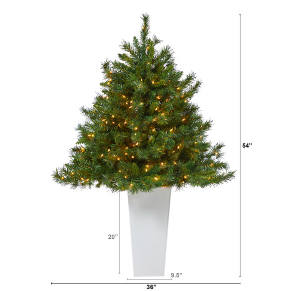 4.5 Wyoming Mixed Pine Artificial Christmas Tree with 250 Clear Lights and 462 Bendable Branches in Red Tower Planter - SKU #T2347 - 10