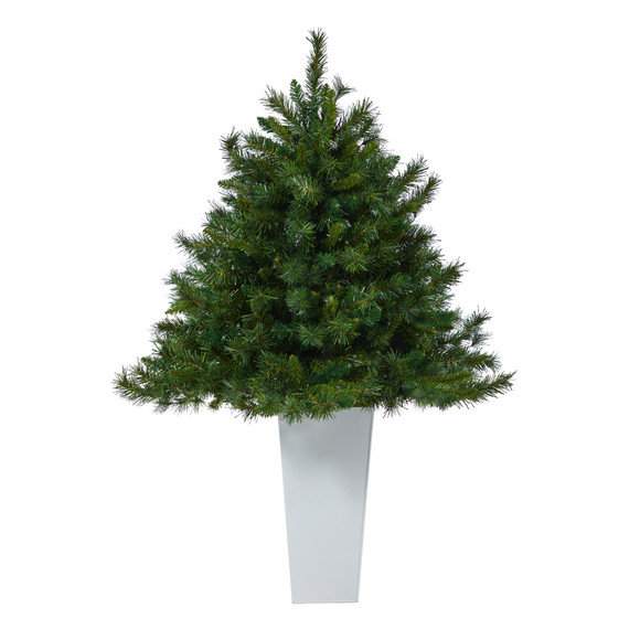 4.5 Wyoming Mixed Pine Artificial Christmas Tree with 250 Clear Lights and 462 Bendable Branches in Red Tower Planter - SKU #T2347 - 11