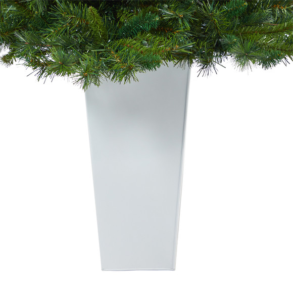 4.5 Wyoming Mixed Pine Artificial Christmas Tree with 250 Clear Lights and 462 Bendable Branches in Red Tower Planter - SKU #T2347 - 14