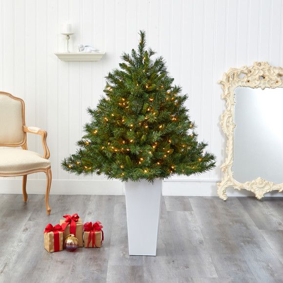 4.5 Wyoming Mixed Pine Artificial Christmas Tree with 250 Clear Lights and 462 Bendable Branches in Red Tower Planter - SKU #T2347 - 15