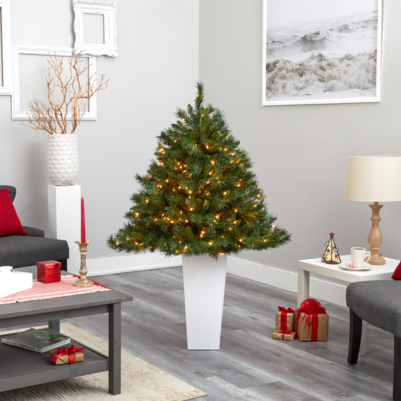 4.5 Wyoming Mixed Pine Artificial Christmas Tree with 250 Clear Lights and 462 Bendable Branches in Red Tower Planter - SKU #T2347 - 16