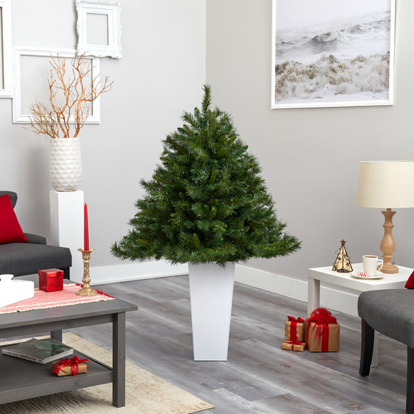 4.5 Wyoming Mixed Pine Artificial Christmas Tree with 250 Clear Lights and 462 Bendable Branches in Red Tower Planter - SKU #T2347 - 17