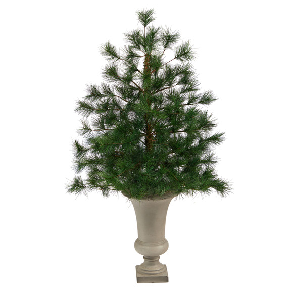 3.5 Yukon Mixed Pine Artificial Christmas Tree with 213 Bendable Branches in Sand Colored Urn - SKU #T2348