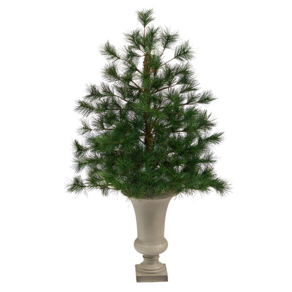 3.5 Yukon Mixed Pine Artificial Christmas Tree with 213 Bendable Branches in Sand Colored Urn - SKU #T2348 - 1