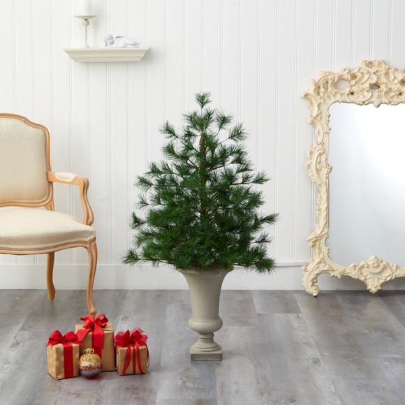 3.5 Yukon Mixed Pine Artificial Christmas Tree with 213 Bendable Branches in Sand Colored Urn - SKU #T2348 - 4