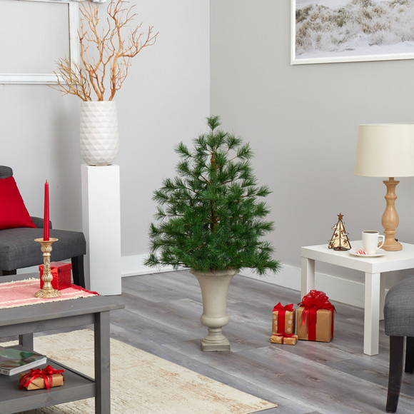 3.5 Yukon Mixed Pine Artificial Christmas Tree with 213 Bendable Branches in Sand Colored Urn - SKU #T2348 - 5
