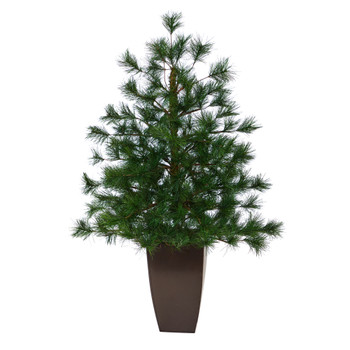 40 Yukon Mixed Pine Artificial Christmas Tree with 213 Bendable Branches in Bronze Metal Planter - SKU #T2350