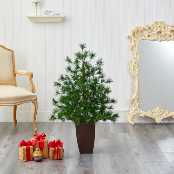 40 Yukon Mixed Pine Artificial Christmas Tree with 213 Bendable Branches in Bronze Metal Planter - SKU #T2350 - 4