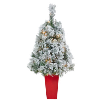 44 Flocked Oregon Pine Artificial Christmas Tree with 50 Clear Lights and 113 Bendable Branches in Red Tower Planter - SKU #T2421