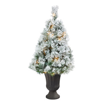 44 Flocked Oregon Pine Artificial Christmas Tree with 50 Clear Lights and 113 Bendable Branches in Charcoal Planter - SKU #T2422