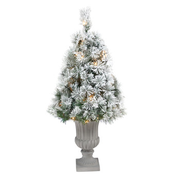 44 Flocked Oregon Pine Artificial Christmas Tree with 50 Clear Lights and 113 Bendable Branches in Decorative Urn - SKU #T2423